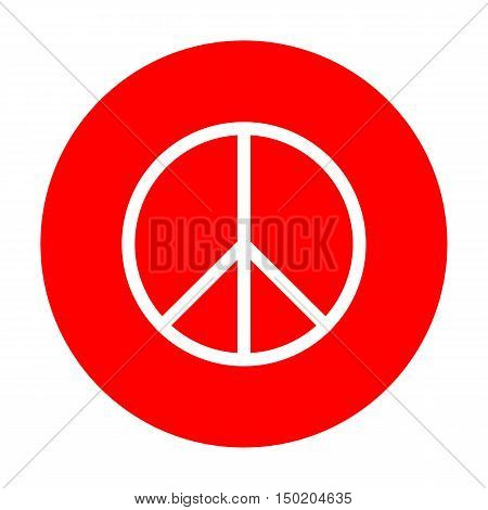 Peace Sign Illustration. White Icon On Red Circle.