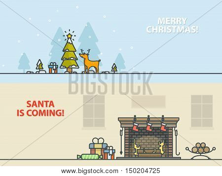 Christmas greeting cards. Winter landscape with christmas tree, reindeer, gifts and fireplace in home. Outline vector illustration.