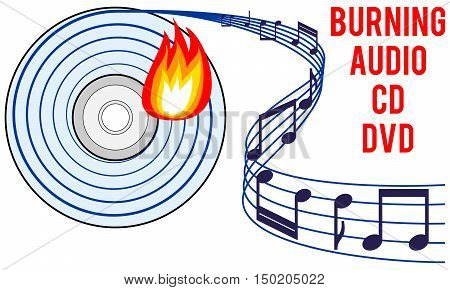 burning audio CD or DVD icon burning soundtrack concept recording audio tracks idea vector illustration with white isolated background