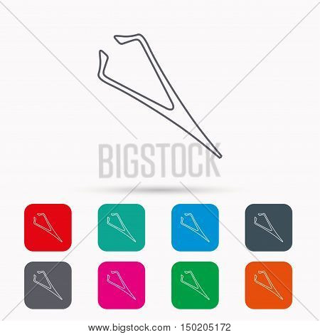 Eyebrow tweezers icon. Cosmetic equipment sign. Aesthetic beauty symbol. Linear icons in squares on white background. Flat web symbols. Vector