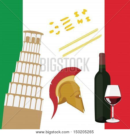 Italy Flat Icons Design Travel Concept. Pisa wine bottle and glass spaghetti and roman helmet. Italy flag on background