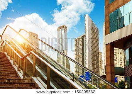 The staircase and skyscrapers of the city viaduct in Shanghai, China