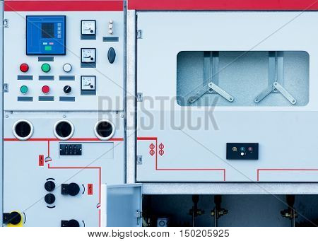 Electronic equipment into the cubicle front panel Closeup substation