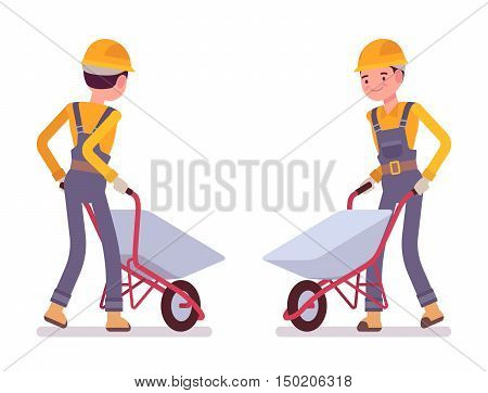 Set of workers with wheelbarrows isolated against white background. Cartoon vector flat-style illustration