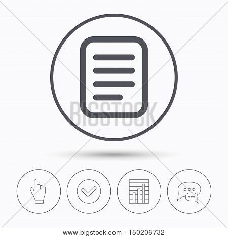 File icon. Text document page symbol. Chat speech bubbles. Check tick, report chart and hand click. Linear icons. Vector
