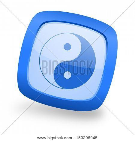 ying yang blue glossy web design icon
