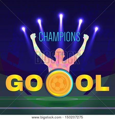Digital vector, football and soccer champions, gool, abstract sportman with hand in the air, stadium with light