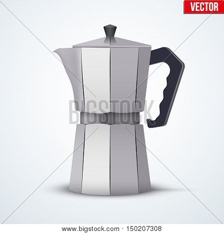 Classic Metal Coffee maker. Vintage style. Editable Vector illustration Isolated on white background.