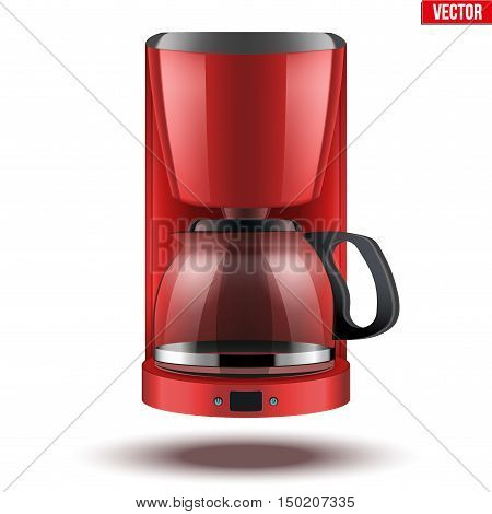 Classic Drip Coffee maker with glass pot. Red color and Original design. Editable Vector illustration Isolated on white background.
