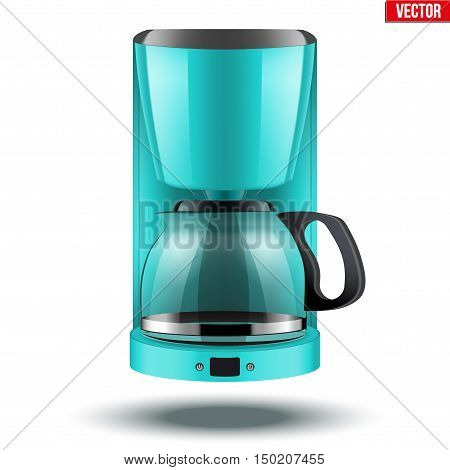 Classic Drip Coffee maker with glass pot. Blue color and Original design. Editable Vector illustration Isolated on white background.