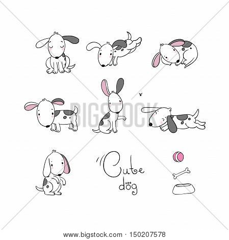 Set of funny cartoon dogs. Hand drawing isolated objects on white background. Vector illustration. quick sketch