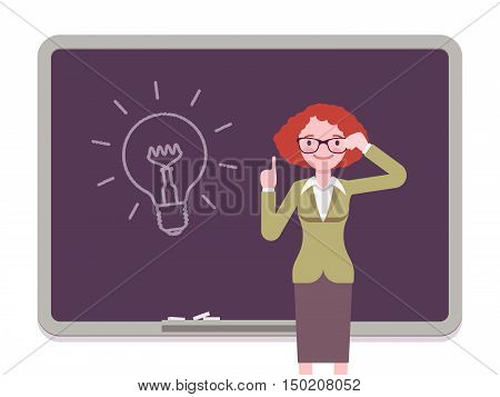 Woman against the blackboard with drawn light bulb. Cartoon vector flat-style concept illustration
