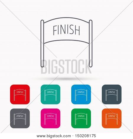 Finish banner icon. Marathon checkpoint sign. Linear icons in squares on white background. Flat web symbols. Vector