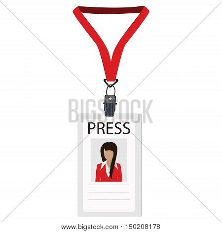 Vector illustration flat design name tag badge template. White plastic lanyard badge with woman photo for press