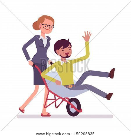 Woman pushing a man in the wheelbarrow. Cartoon vector flat-style concept illustration