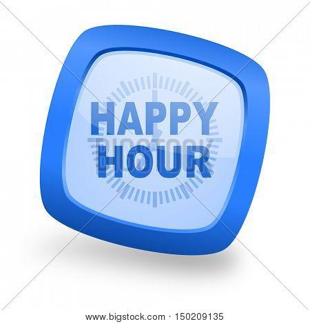 happy hour blue glossy web design icon