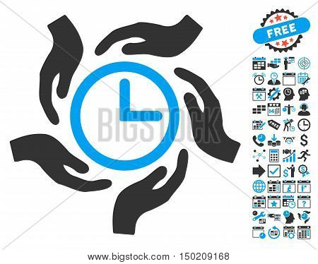Time Care pictograph with bonus calendar and time management symbols. Vector illustration style is flat iconic bicolor symbols, blue and gray colors, white background.