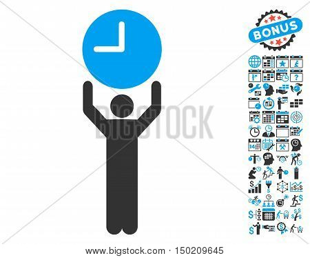 Time Manager icon with bonus calendar and time management pictogram. Vector illustration style is flat iconic bicolor symbols, blue and gray colors, white background.