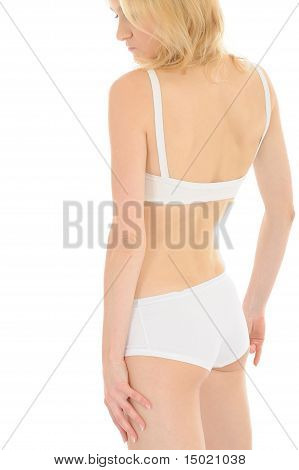Part Of Beautiful Fit Slim Woman Body In White Underwear From The Back. Isolated