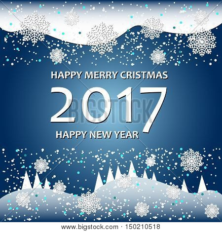 Falling snow vector illustration for winter design on blue background with marry cristmas and happy new year text