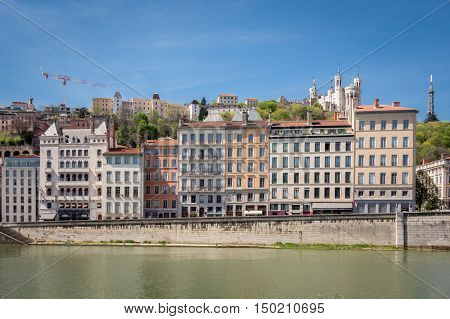 Classical view of Lyon France. Basilica of Notre Dame de Fourviere in the historical center