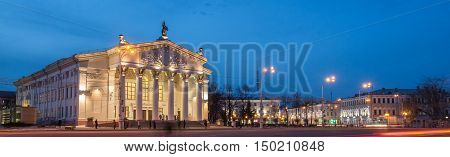 Map of Gomel in night light and views of the Regional Drama Theatre. Lenin Square
