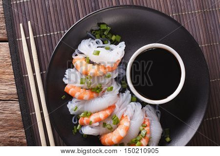 Shirataki With Prawns, Chives And Soy Sauce. Horizontal Top View