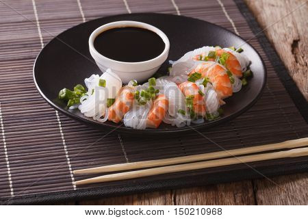 Japanese Food: Shirataki With Prawns, Spring Onions And Soy Sauce Close-up. Horizontal