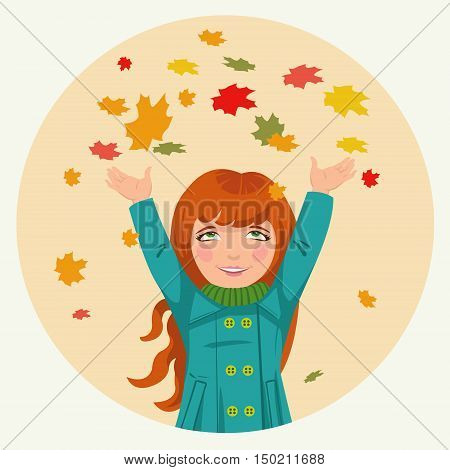 cute little girl throws up autumn leaveslittle girl throws up autumn leaves