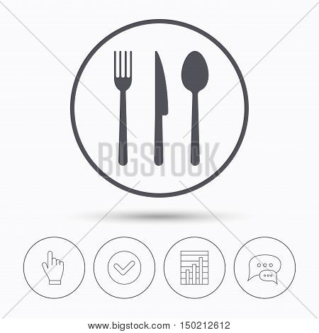 Fork, knife and spoon icons. Cutlery symbol. Chat speech bubbles. Check tick, report chart and hand click. Linear icons. Vector