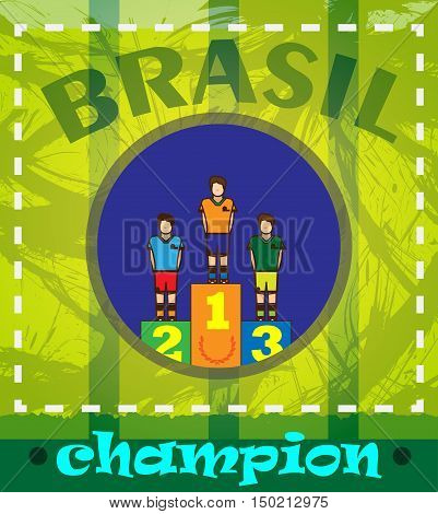 Digital vector brasil chapion, winners podium, flat style