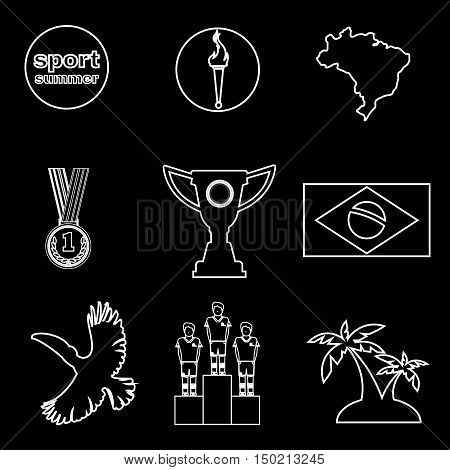 Digital vector brasil sport icons set, flag, cup, medal, flat style