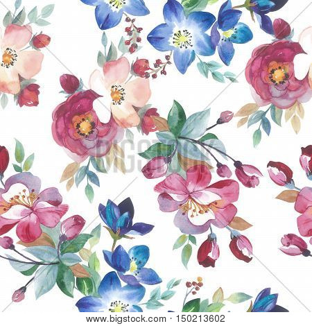 Wildflower rose flower pattern in a watercolor style isolated. Full name of the plant: rose, hulthemia, rosa. Aquarelle flower could be used for background, texture, wrapper pattern, frame or border.