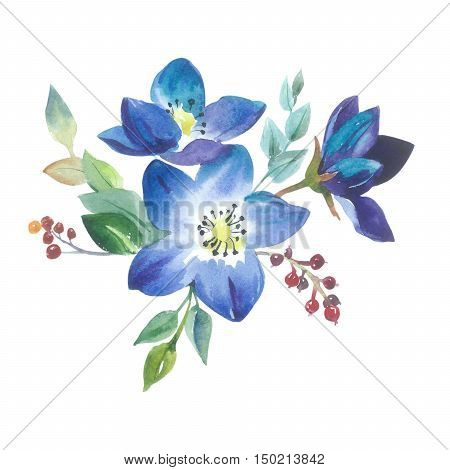 Wildflower forgetmenot flower in a watercolor style isolated. Full name of the plant: forgetmenot, myosotis. Aquarelle flower could be used for background, texture, wrapper pattern, frame or border.