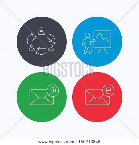Teamwork, presentation and e-mail icons. E-mail inbox linear sign. Linear icons on colored buttons. Flat web symbols. Vector
