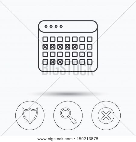 Calendar, magnifying glass and delete icons. Shield linear sign. Linear icons in circle buttons. Flat web symbols. Vector