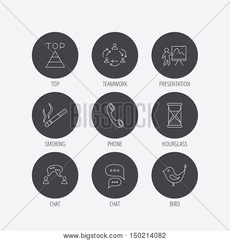 Teamwork, presentation and phone call icons. Chat speech bubble, hourglass and bird linear signs. Smoking, pyramid icons. Linear icons in circle buttons. Flat web symbols. Vector