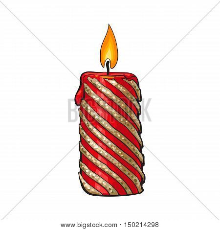 Burning Christmas candle, cartoon illustration isolated on white background. Xmas, advent red and gold colored candle with a flame, Christmas decoration element