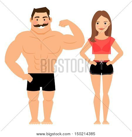 Man and woman muscular couple. Male and female young fitness athletes isolated on white background. Vector illustration