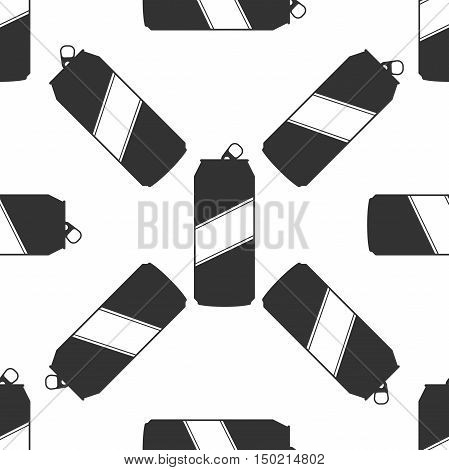 Aluminum can icon seamless pattern on white background. Vector Illustration