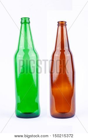 brown beer bottle and green beer bottle for beer beverage party on white background drink isolated