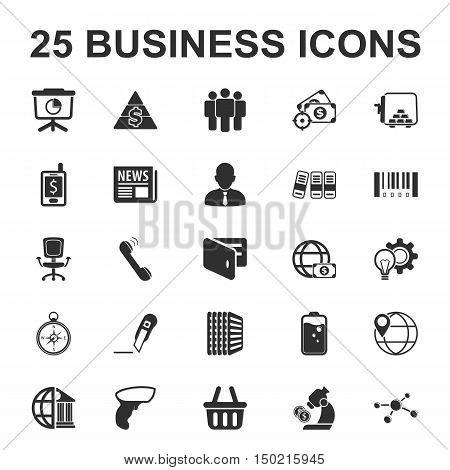 business, finance 25 black simple icon set for web design