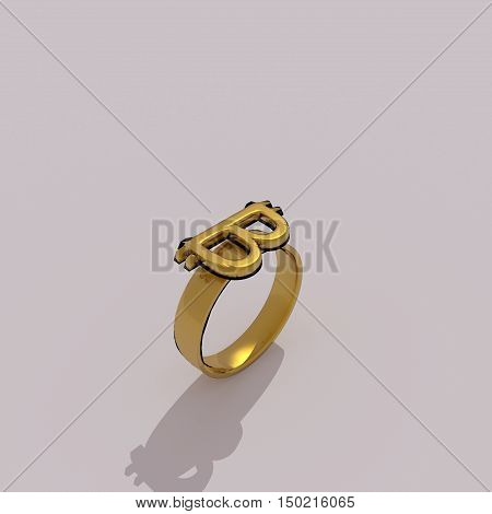 Golden ring with bitcoin sign. 3D Rendering.