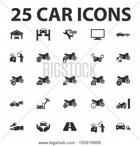 Car, repair 25 black simple icons set for web design