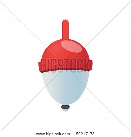 Red Fishing Bobber isolated on white background. Vector Illustration.