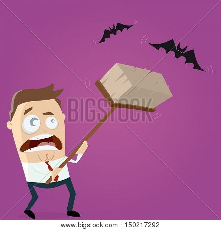 funny cartoon man is hunting bats with a broom