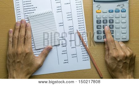 Planning monthly budget or account expenses. finance