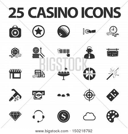 Casino, gambling 25 black simple icons set for web design