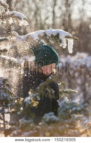 Portrait of a child pulling the branch of a tree with snow and snow is falling on him. Boy having fun in a winter forest on a cold sunny day.