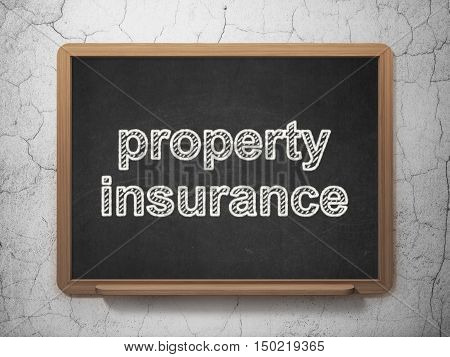 Insurance concept: text Property Insurance on Black chalkboard on grunge wall background, 3D rendering
